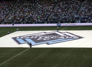 Vancouver Whitecaps FC Flag before a game; Photo by ©the Pacific Post/ file photo