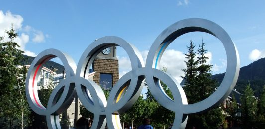 The Olympic logo for Vancouver Winter Olympics at Whistler, BC; Photo by ©the Pacific Post/ File photo