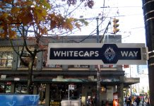 """""""Whitecaps Way"""" sign at Robson st. and Granville st. in Vancouver"""