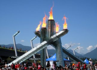 The Vancouver Olympic cauldron; Photo by ©Pacific Walkers