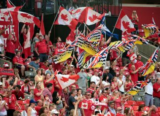 Canadian fans at FIFA World Cup in Canada, June 27, 2015 at BC Place, Vancouver; Photo by ©Sam Maruyama