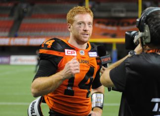 QB Lulay of BC Lions at the interview after the game. July 21, 2017, at BC Place, Vancouver, BC. Photo by ©Preston Yip