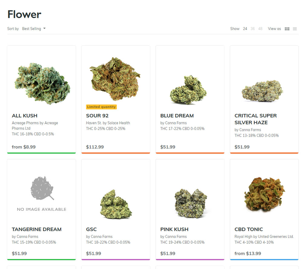 British Columbia Cannabis Online Shop shows merchandise, October 17, 2018. Photo from BC Cannabis Stores