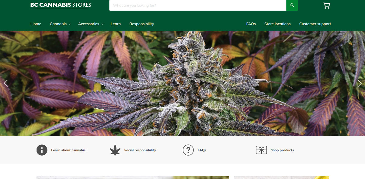British Columbia Cannabis Online Shop opened at midnight on October 17, 2018. Photo from BC Cannabis Stores