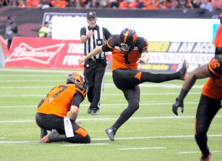 Kicker Long of BC Lions kicked four field goals against Toronto Argonauts on Oct 6, 2018 at BC Place, Vancouver British Columbia; Photo by ©Preston Yip