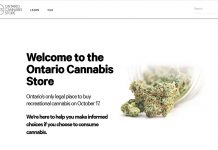 Ontario Cannabis online shop homepage, October 17, 2018; from Ontario Cannabis Store HP