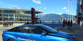 Zero-emission Toyota Hydrogen car 'Mirai' at GLOBE on March 16, 2018: Photo by ©the Pacific Post