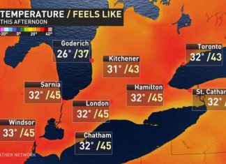 Ontario July 19, 2019 temperature; Photo from the Weather network